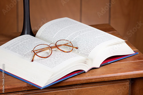 glasses, book on table