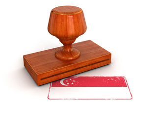 Rubber Stamp Singapore flag (clipping path included)