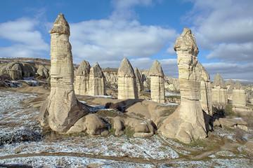 Stone columns in Gorcelid Valley in Cappadocia, Turkey