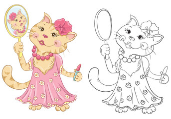 Coloring book with cartoon fashion cat