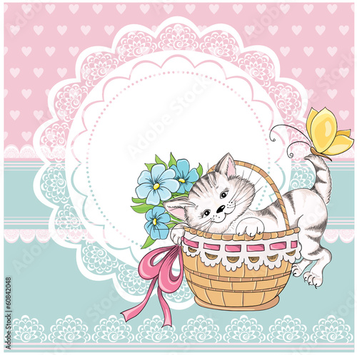 Vintage birthday card with funny cat on a lace background