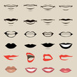 vector lips and mouth,  silhouette and glossy, - 60842492