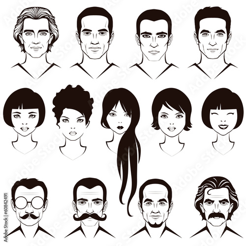 eye  lips and hair, face parts, head character, man and woman