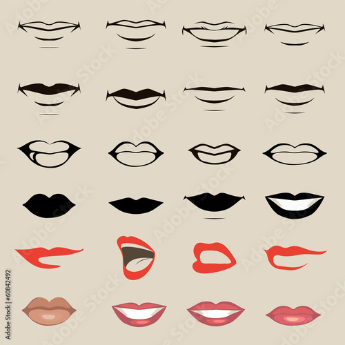 vector lips and mouth,  silhouette and glossy,