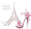 High-heeled shoes on background of Eiffel Tower. Paris Fashion