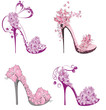 Collection shoes on a high heel decorated with flowers - 60842893