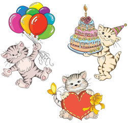 Cats. Idea for greeting card on birthday