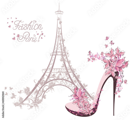 High-heeled shoes on background of Eiffel Tower. Paris Fashion - 60842864