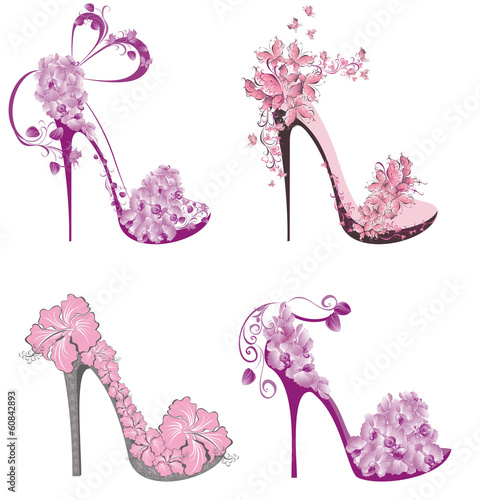 Collection shoes on a high heel decorated with flowers