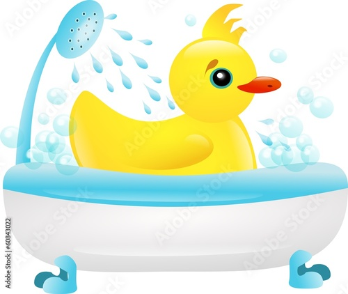 Bathing duckling