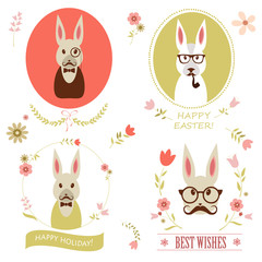 set of easter rabbit