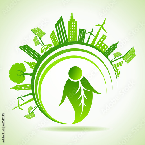 Ecology concept with eco cityscape - vector illustration