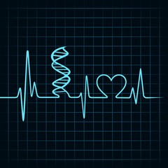 Heartbeat make DNA stand and heart symbol stock vector