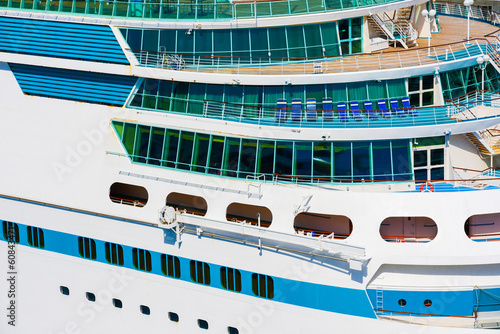 Side of a cruise ship in a summer day