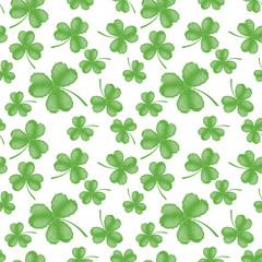 Light green seamless clover pattern on white