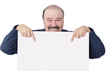 Motivated businessman holding a blank white sign