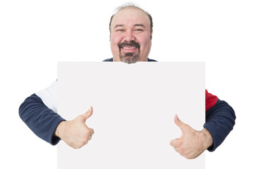 Man holding a blank board giving a thumbs up