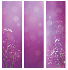 Vector violet floral banners for design.