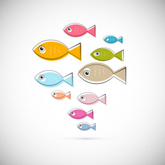 Colorful Abstract Vector Fish Illustration
