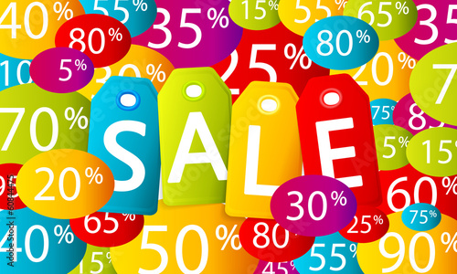 Multicolor vector discount sales background