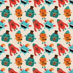 Vector Cute Retro Hipster Monsters Seamless Pattern, Background