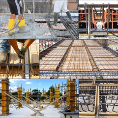 pouring concrete on big floor construction. motion blur