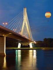 Swietokrzyski Bridge in Warsaw by night.
