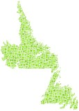 Newfoundland & Labrador in a mosaic of green squares