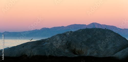 Sunset at rock landscape