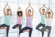 Fit class standing in tree pose at fitness studio
