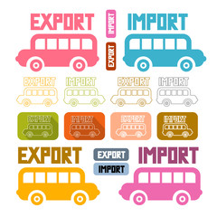 Export Import Icons Isolated on White Background