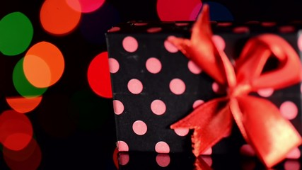 Gift box with colorful bokeh