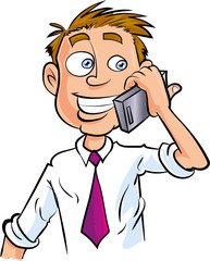 Cartoon office worker making phone call