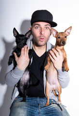 guy with dogs