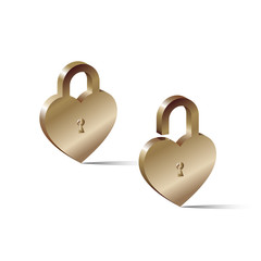 2 lock in the shape of a heart one is opened, the other closed