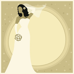 Vector illustration of a bride holding bouquet.