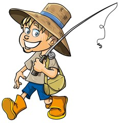 Cartoon fisherman with a fishing rod