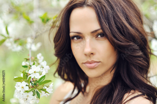 Woman with beauty long brown hair - outdoors