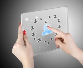 woman hand pressing modern social buttons