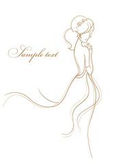 Wedding card with beautiful bride vector illustration
