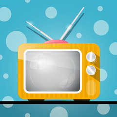 Retro Orange Television, TV Illustration