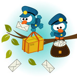 bird postman - vector illustration