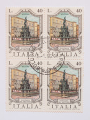 mail stamp from Italy with the Neptune fountain in Bologna