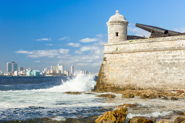 The castle of El Morro with the Havana skyline