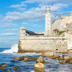 The lighthouse and fortress of El Morro in Havana