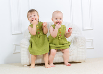 cute happy little girls  at home