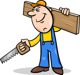 worker with saw cartoon illustration