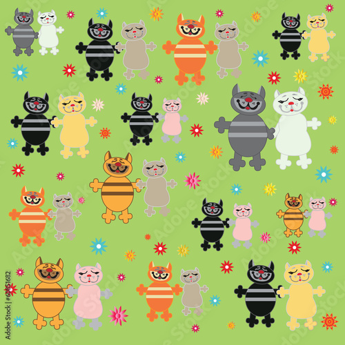 Pairs of cats on green background.