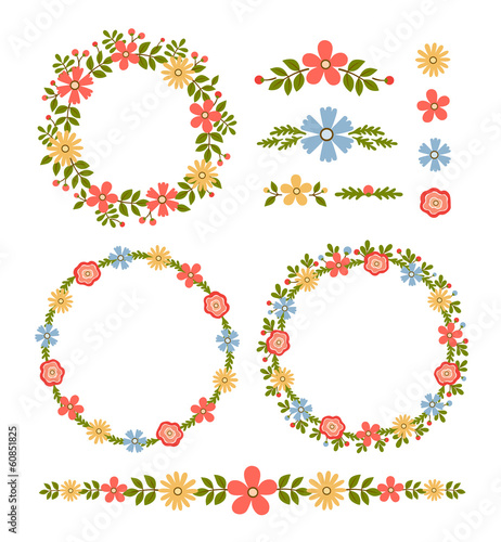 Vintage vector set of floral design elements