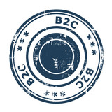B2C concept stamp poster